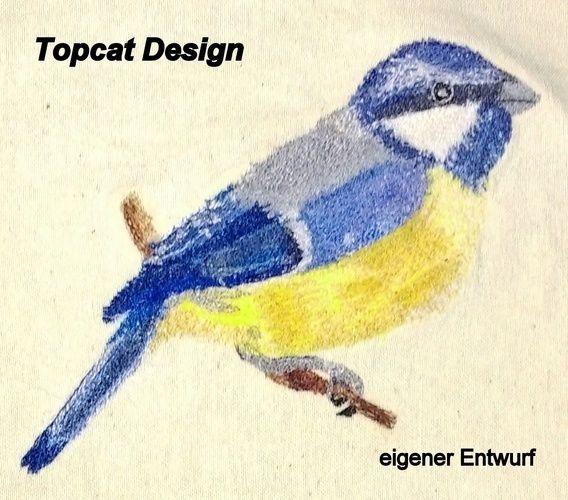 Makerist - Blaumeise; festerer BW-Stoff, Nähgarn verstickt - Nähprojekte - 1