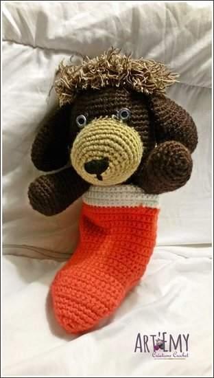 Makerist - Socky le chien-chaussette, doudou en crochet spécial Noel - 1