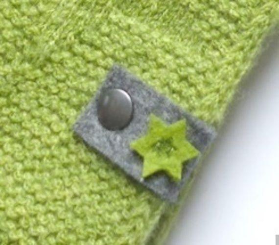 Makerist - Filz-Label mit kleinen Sternen in grün - Filzprojekte - 1