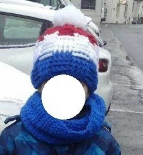 Makerist , Bonnet Bleu Blanc Rouge au point de vannerie et son snood  assorti , Créations