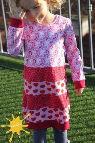"""Makerist - Mädchenkleid """"Farbklex"""" von Herzensbund Design aus Jersey in Gr. 104/110 - Nähprojekte - 1"""