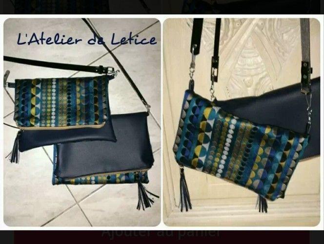 Makerist - Pochette bi matière simili cuir et coton tissé bleu  - Créations de couture - 1
