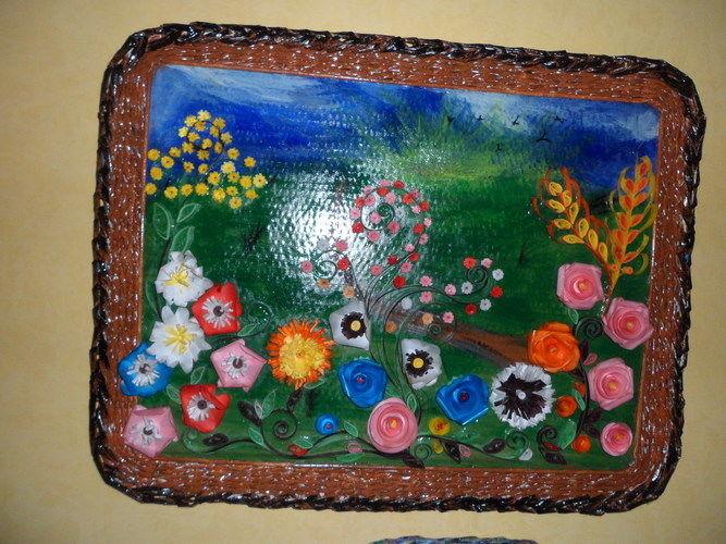 """Makerist - Vannerie Tableau fleurs printemps été (Quilling + cadre en Rotin """"papier journal"""") - Autres créations - 2"""