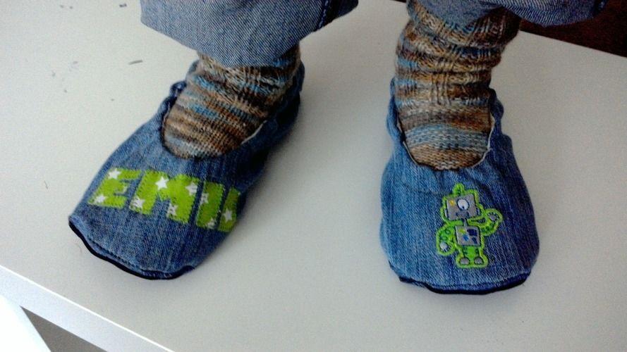"Makerist - Pantoffel ""ava"" recycling aus Jeans für Jungs - Nähprojekte - 1"