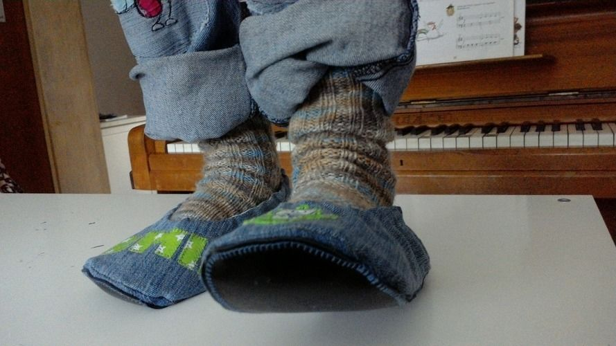 "Makerist - Pantoffel ""ava"" recycling aus Jeans für Jungs - Nähprojekte - 2"