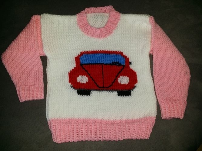 Makerist - Baby Pulli VW Käfer, aus Schachenmeyer BRAVO Wolle! - Strickprojekte - 1