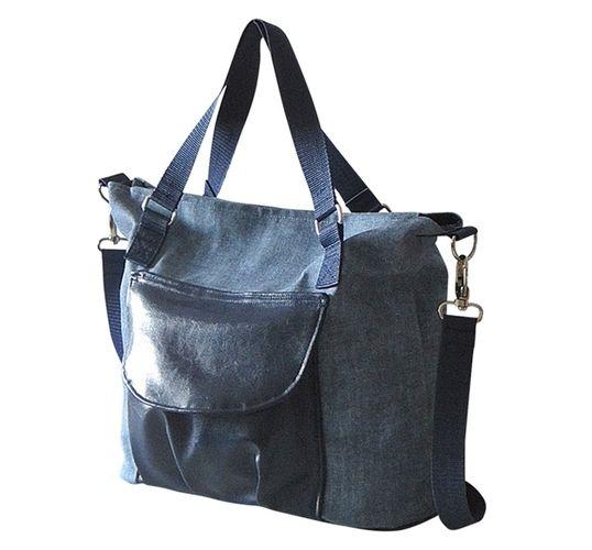 Makerist - Schultertasche, Citybag Canvas Blau mit Kunstleder - Nähprojekte - 1