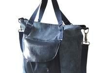Makerist - Schultertasche, Citybag Canvas Blau mit Kunstleder - 1