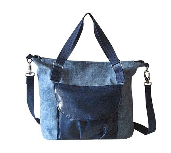 Makerist - Schultertasche, Citybag Canvas Blau mit Kunstleder - Nähprojekte - 2