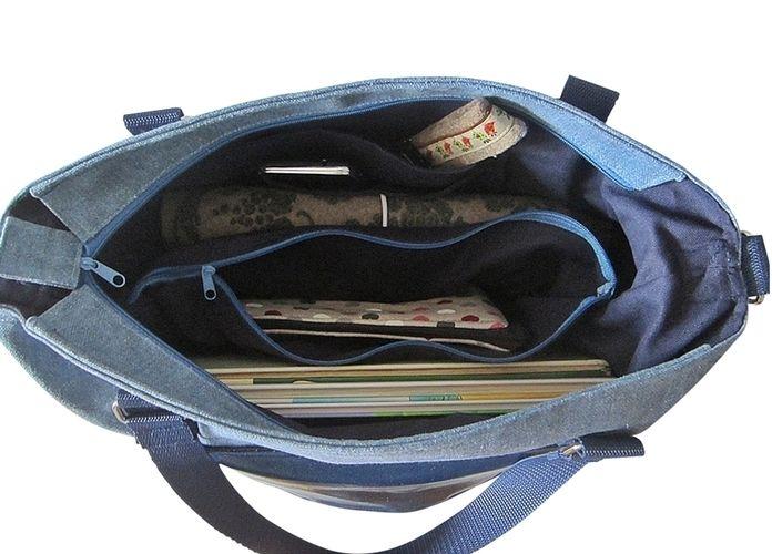 Makerist - Schultertasche, Citybag Canvas Blau mit Kunstleder - Nähprojekte - 3