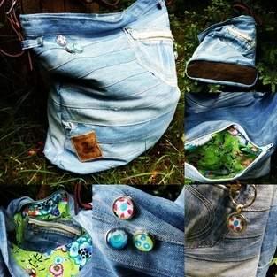 Makerist - Lieblingsjeans mit Streichelstoff wird zur Chobe Bag - 1