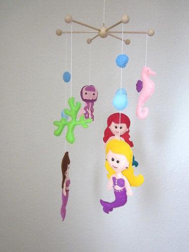 Makerist - Filz Mobile Ariel.Schöne Deko für das Kinderzimmer. - Filzprojekte - 2