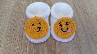 Makerist - Petits chaussons smiley - 0/3mois - 1