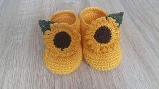 Makerist - Chaussons tournesols - taille 0/3 mois - 1