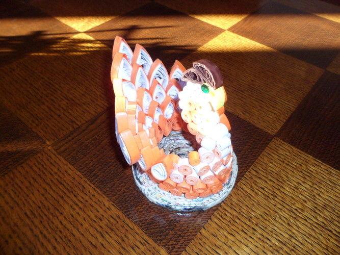 Makerist - Quilling - Oiseau orange et blanc - Autres créations - 1