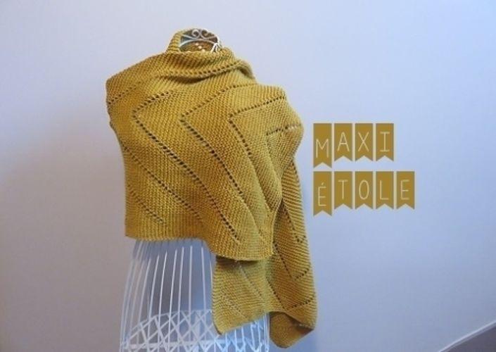 Makerist - Maxi étole moutarde - Créations de tricot - 2