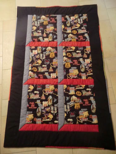 Makerist - Route 66  -diese Decke ist  für meinen Bruder (Motorradfreak) :)) - Patchwork-Projekte - 1