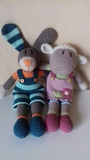 Makerist - Hase Tom und Lamm Annie. Es wird ein Ostergeschenk für meine Enkel. - 1