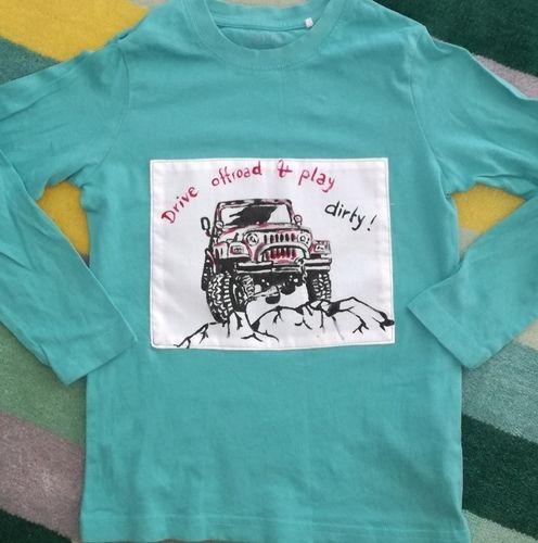 Makerist - Selbstgemalte Applikation Jeep auf gekauftem Shirt - Nähprojekte - 1