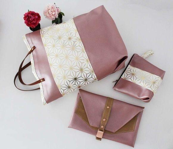 Makerist - Taschenset aus rosefarbenem Kunstleder und Canvas mit Goldakzenten - Nähprojekte - 1