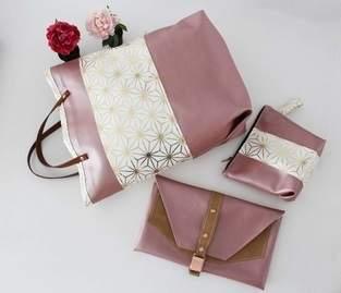 Makerist - Taschenset aus rosefarbenem Kunstleder und Canvas mit Goldakzenten - 1