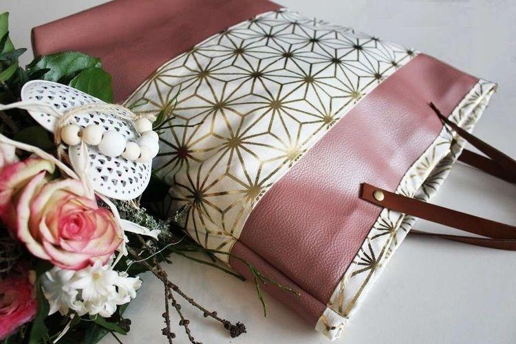 Makerist - Taschenset aus rosefarbenem Kunstleder und Canvas mit Goldakzenten - Nähprojekte - 2