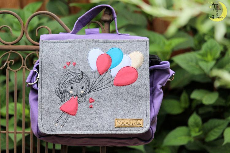 """Makerist - Kiga-Tasche """"Mädchen mit Luftballons"""" - Textilgestaltung - 1"""