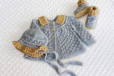 Makerist - Angle Lace Baby Cardigan with matching booties and bonnet - 1