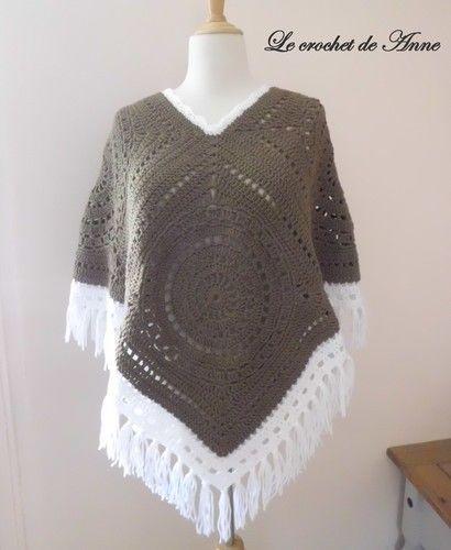 Makerist - PONCHO  marron taupe , style boho hippie aux jolis carrés géants granny !  - Créations de crochet - 1