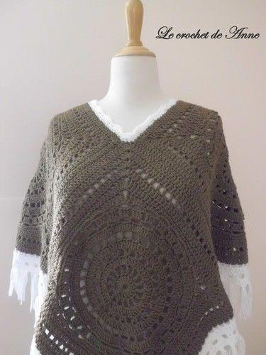 Makerist - PONCHO  marron taupe , style boho hippie aux jolis carrés géants granny !  - Créations de crochet - 2