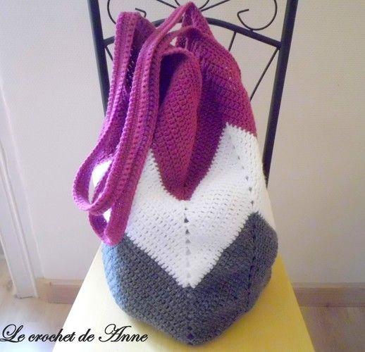 Makerist - SAC fourre-tout , Sac de plage , Sac boho , aux jolis motifs zig zag !  - Créations de crochet - 2