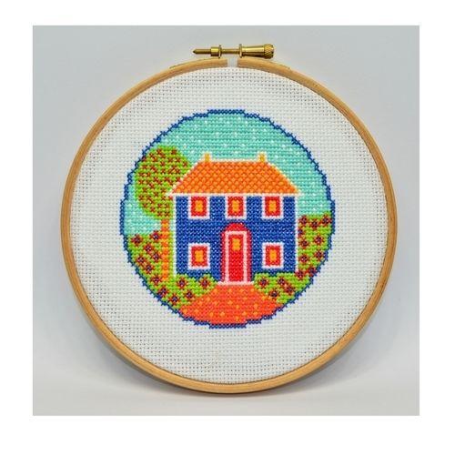 Makerist - Folk Art Cottage Counted Cross Stitch Pattern - Sewing Showcase - 1