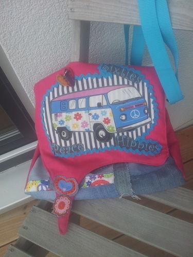 Makerist - die Flower Power Bulli Jeans Tasche - Nähprojekte - 1