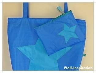 Makerist - Blau-petrol farbige Badetasche mit Stern    - 1