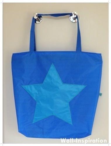 Makerist - Blau-petrol farbige Badetasche mit Stern    - Nähprojekte - 3