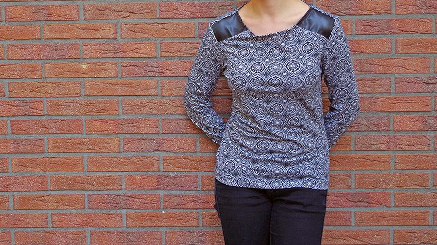 Makerist - Jerseyshirt mit Kunstledereinsatz - Nähprojekte - 1