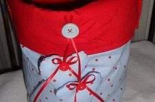 Makerist - Stoffkorb in rot/blau - 1