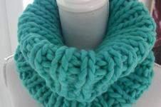 Makerist - Col snood turquoise fait main en grosse laine péruvienne - 1
