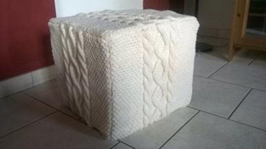 39 housse pour pouf 39 de s verine crovi cr ations de tricot. Black Bedroom Furniture Sets. Home Design Ideas