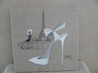 Makerist - A Paris, quand un amour sourit...... Acrylique et encre de chine sur toile de lin  - 1