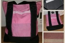 Makerist - rosa-gepunkteter Shopper mit Spitzenborte - 1