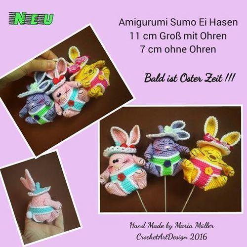Makerist - Amigurumi Sumo Ei Hasen - Häkelprojekte - 1