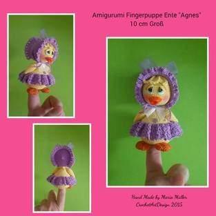 "Makerist - Amigurumi Fingerpuppe Ente ""Agnes"" 10 cm Groß  - 1"
