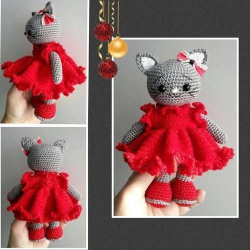 Makerist - Amigurumi Katze mit Rüschen Kleid 17 cm Groß ( 19 cm mit Ohren ) - Häkelprojekte - 1